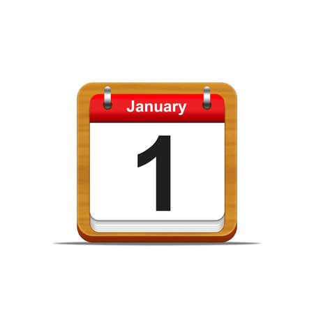 Illustration elegant wooden calendar on white background  Stock Photo
