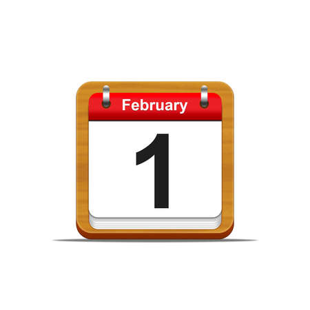 february 1: Illustration elegant wooden calendar on white background  Stock Photo