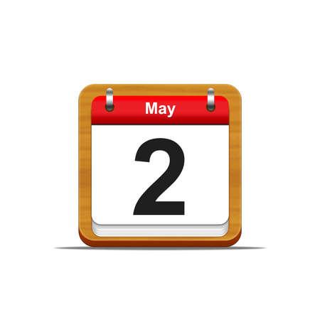 2 months: Illustration elegant wooden calendar on white background  Stock Photo