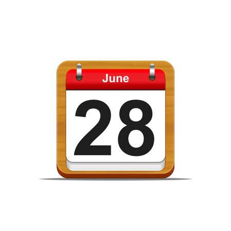 Illustration elegant wooden calendar on white background  Stockfoto