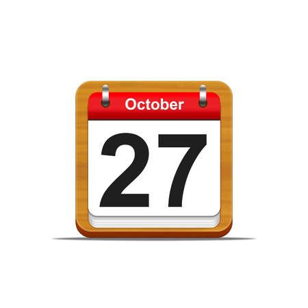 27: Illustration elegant wooden calendar on white background  Stock Photo