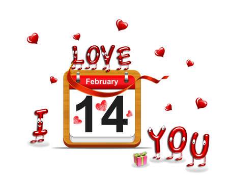 Illustration elegant wooden calendar on February 14 Stock Illustration - 16227316