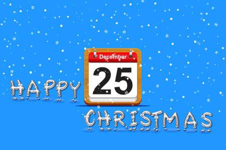 december calendar: Illustrazione con 25 dicembre calendario e Buon Natale