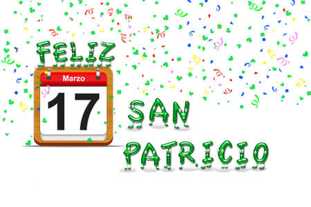 Illustration with a St Patrick day calendar Stock Illustration - 16355978