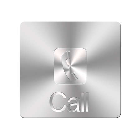 Illustration with a metal phone button on a white background Stock Illustration - 16355974