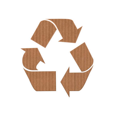 reusable: Illustration with a cardboard and reusable sign  Stock Photo