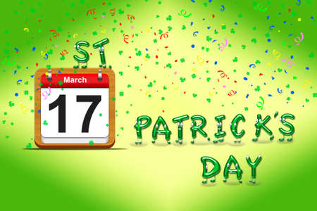 march 17: Illustration with a St Patrick day calendar