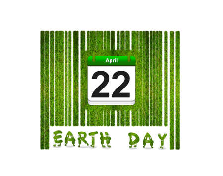 Illustration with a nature barcode and Earth day  Stock fotó