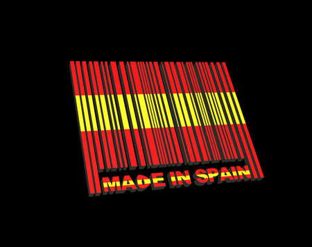 Illustration with a barcode made in Spain Stock Illustration - 16470961