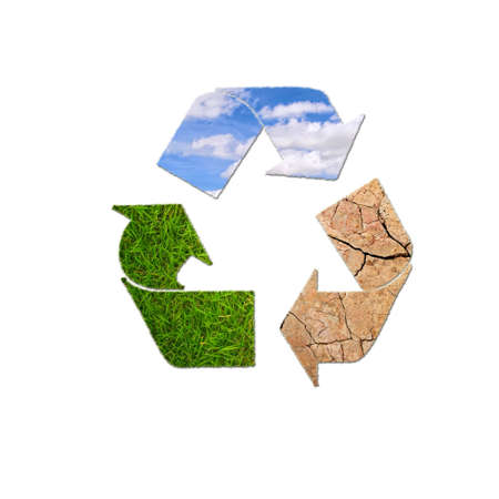ciclo del agua: Ilustraci�n con la muestra planeta reciclaje sobre fondo blanco