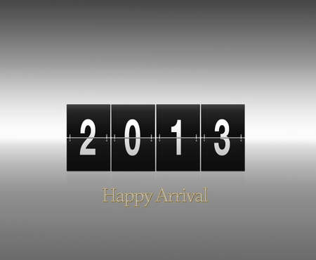 Illustration of a sign with the phrase 2013 Happy arrival  illustration