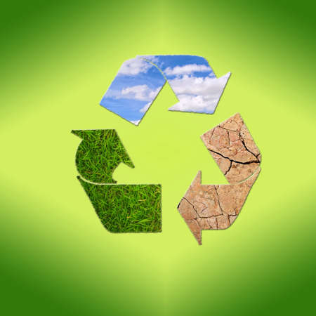 Illustration with sign recycle planet on  green background Stock Illustration - 16491520