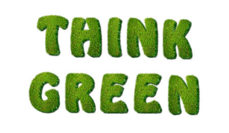 Illustration of a phrase Think green in grass  Stock Illustration - 16507722