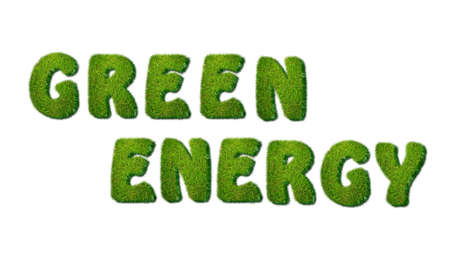 Illustration of a phrase Green energy in grass  Stock Illustration - 16507721