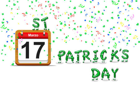 Illustration with a St Patrick day calendar  illustration