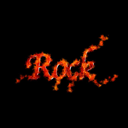 Illustration with a rock flame on black background  illustration
