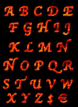 Illustrazione con una Abc fiamma su sfondo nero