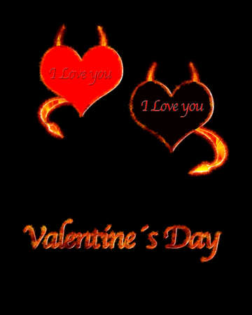 Illustration with heart valentine flame on black background  illustration