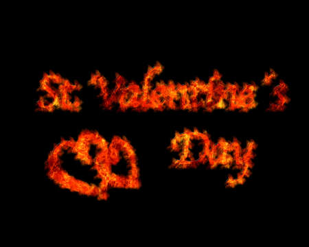 Illustration with a flame Valentine on a black background  illustration