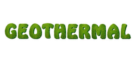 geothermal: Illustration with a word geothermal on white background  Stock Photo