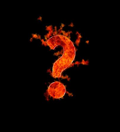 point d interrogation: Illustration d'une question br�lante sur fond noir