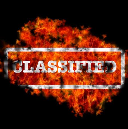 Illustration with classified word burning on black background Stock Illustration - 16665103