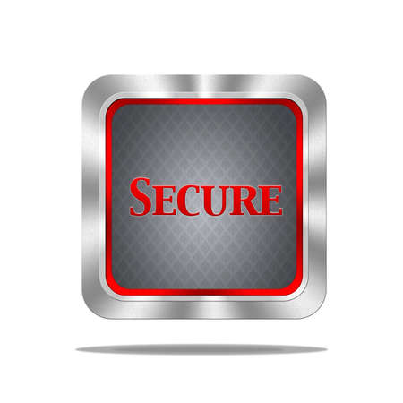 encrypted files icon: Aluminum frame illustration with  secure signal on white background