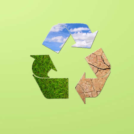Illustration with sign recycle planet on  green background Stock Illustration - 16693166