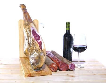 ham: Spaanse Iberische ham uit eikels geïsoleerd gevoed varkens