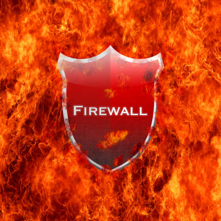 Illustration with firewall shield on white background Stock Illustration - 16749668
