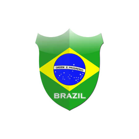 Illustration with Brazil shield on white background  illustration