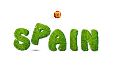 Illustration with Spain soccer  on white background  illustration
