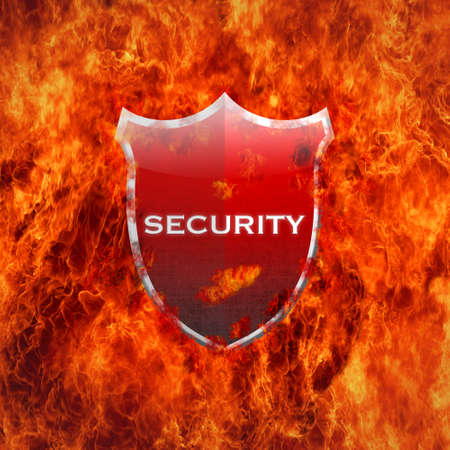 Illustration with security shield on white background  illustration