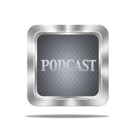 Aluminum frame illustration with podcast signal on white background Stock Illustration - 16807568