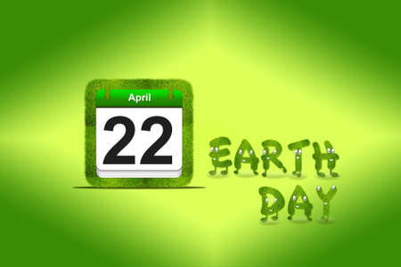 Illustration with a nature calendar and Earth day  illustration