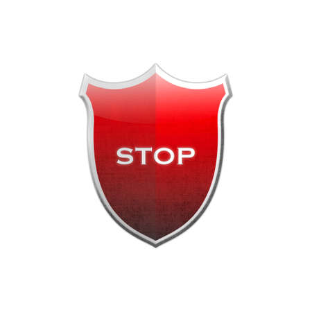 restrictive:  Illustration with stop shield on white background  Stock Photo