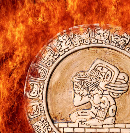 Illustration with a Flame maya calendar on fire Stock Illustration - 16945147