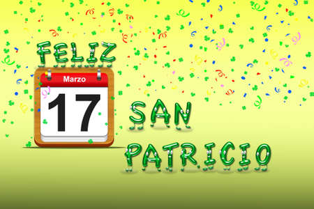 Illustration with a St Patrick day calendar Stock Illustration - 16960412