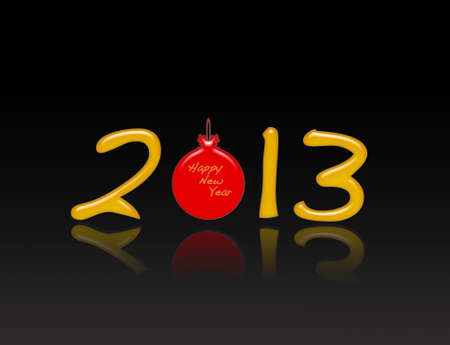 Illustration Happy new year 2013 on black background  Stock Illustration - 16978021