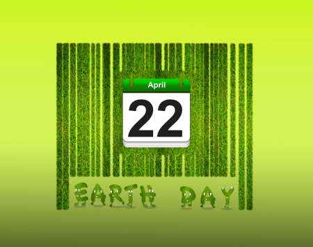 Illustration with a nature barcode and Earth day  illustration