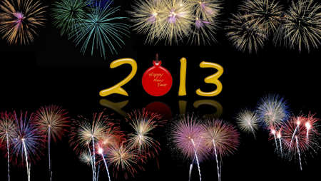 Illustration with a new year 2013 fireworks  Stock Illustration - 17011287