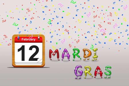 Illustration with a mardi gras calendar on a grey background Stock Illustration - 17109305