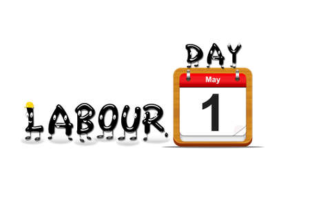 Illustration with a labour day  calendar on a white background
