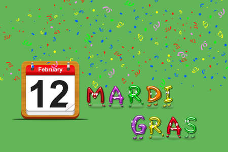 Illustration with a mardi gras calendar 2013 on a green background  Stock Illustration - 17109307