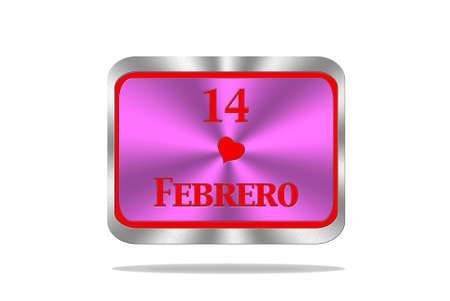 Aluminum frame illustration with February 14 signal on white background Stock Illustration - 17215549