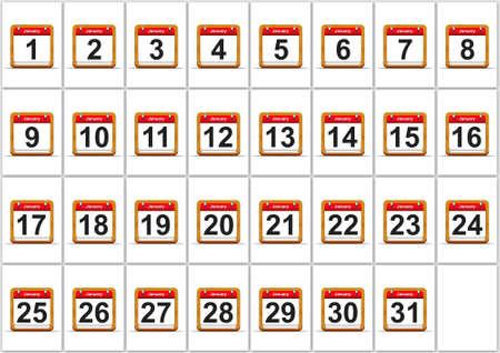 Illustration elegant January calendar on white background Stock Illustration - 17288266