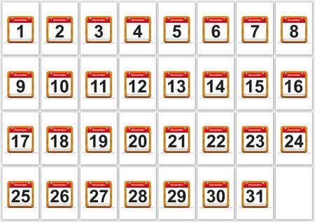 december calendar: Illustrazione elegante Dicembre calendario su sfondo bianco Archivio Fotografico