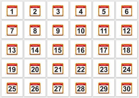 Illustration elegant November calendar on white background Stock Illustration - 17288269