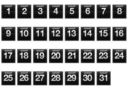 Illustration with a counter calendar of August Stock Illustration - 17288287