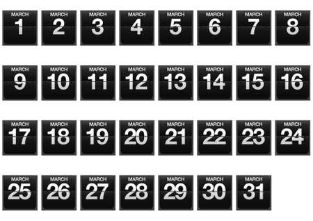 Illustration with a counter calendar of March  Stock Illustration - 17288289